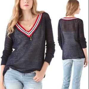 We the Free open weave navy v neck sweater